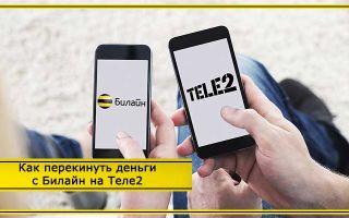 Способы перевода средств со счета мобильного на Билайне на Теле2